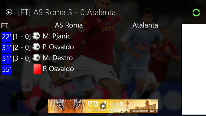 Tutte le partite della Roma in tempo reale!