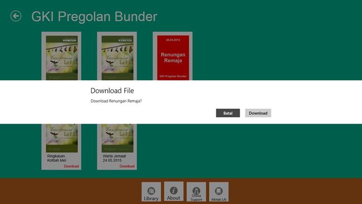 Proses download warta jemaat yang mudah dan akan langsung tersimpan akan membuat jemaat nyaman dalam menggunakan aplikasi ini.