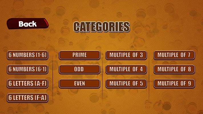 Game menu selection