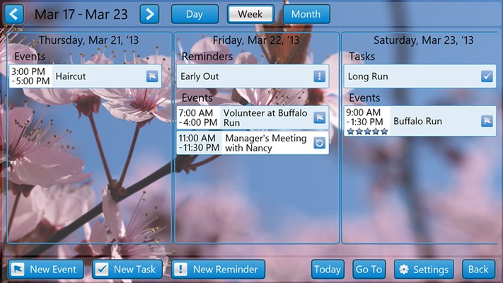 Calendar Week View. A quick week-at-a-glance look at your Events, Reminders, and Tasks.