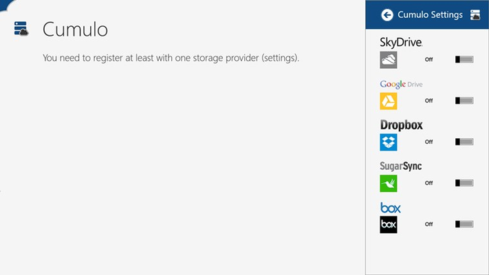 Register the cloud storage service using the application settings