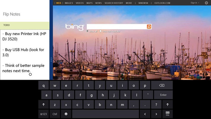 Take notes and flip between them in Full, Snapped and Filled views, with awesome touch-keyboard support.