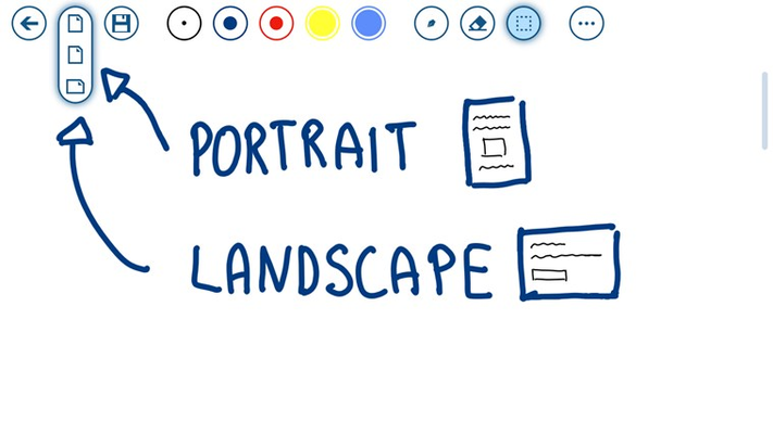 You can now select portrait or landscape sized for new notes