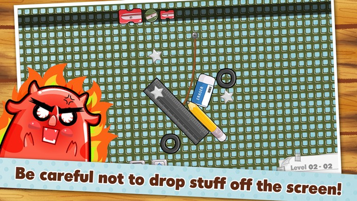 Be careful no to drop stuff off the screen