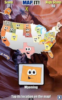 Map It quizzes you on where the states are located on the map.