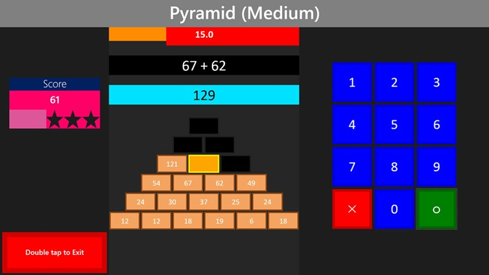 Pyramid game mode. Every block is the sum of the 2 blocks below it.