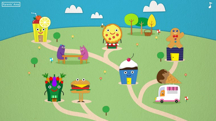 Welcome to Yum Yum town. Meet all the restaurants, visit the fruit tree or the eating area and create delicious treats!