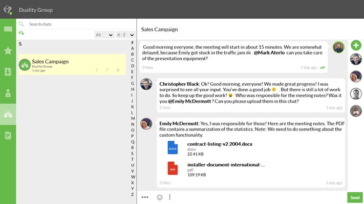 Communicate with your coworkers or business contacts in groups.
