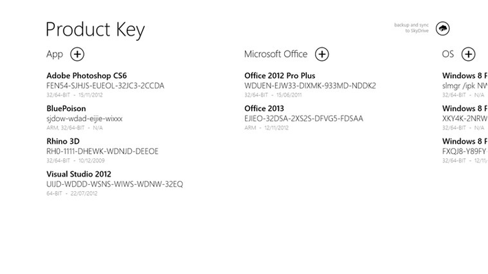 Home with categories and product key. At the top there is a button to synchronize.