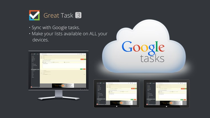 Sync between PC and tablet through Google tasks service. (Graphically enhanced)