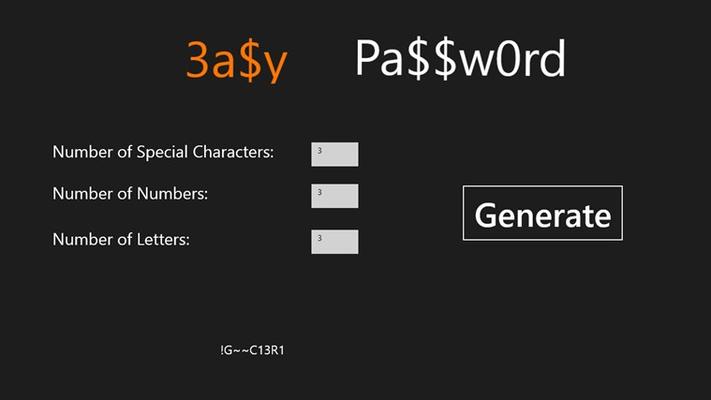 A randomly generated password
