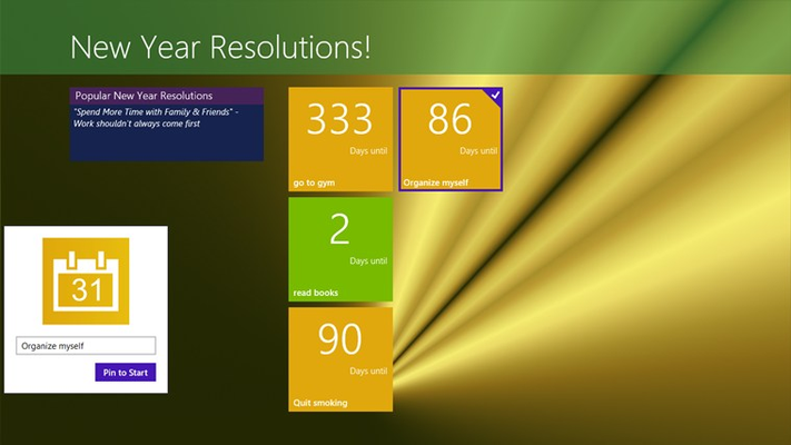 Pin your new year resolution to the start screen