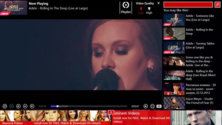 Adele Videos for Windows 8