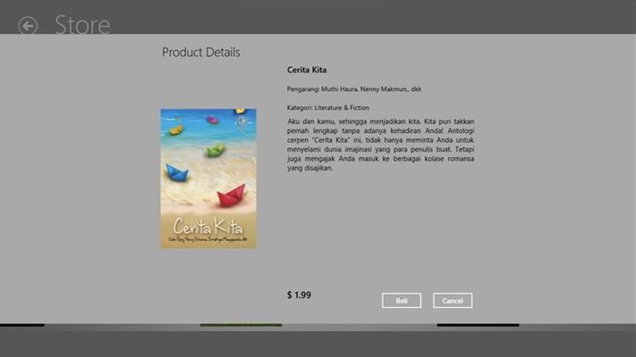 Halaman preview sebelum membeli. Dilengkapi dengan sinopsis pendek tentang buku terkait, harga dan petunjuk pembelian.