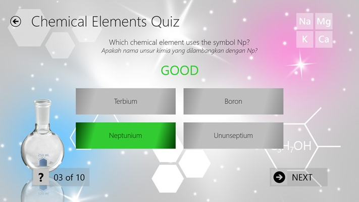 Quiz page when answered correctly