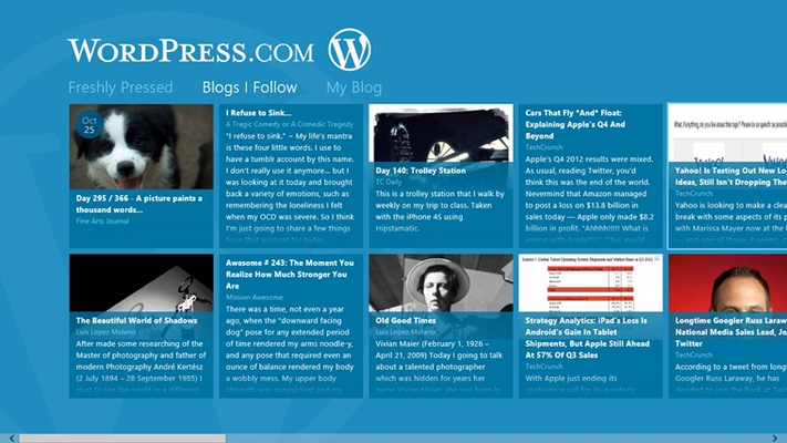 Browse the blogs you follow on WordPress.com in a beautiful side-scrolling list.