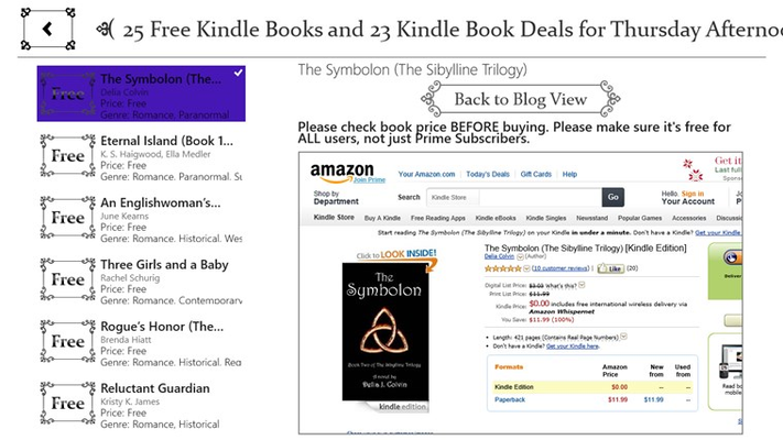 """Free Books List page on a 23.6"""" PC."""