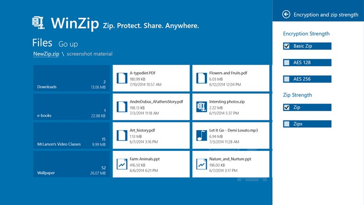 Protect your files with banking-level encryption and choose .zipx format for extra compression power.