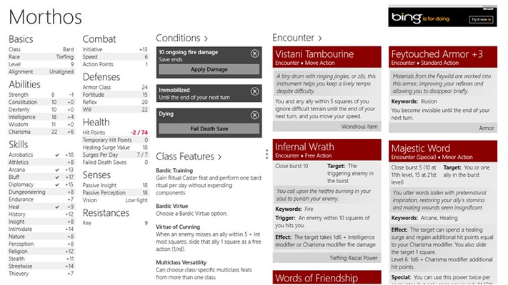 Conditions can be added and will show on the character sheet. Ongoing damage can be easily applied from here.