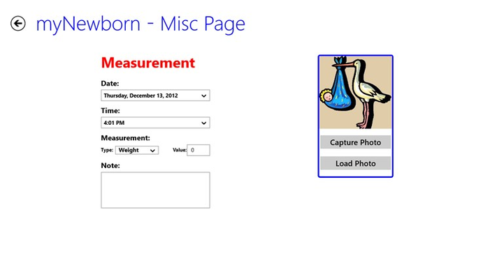 Measurement Entry Page
