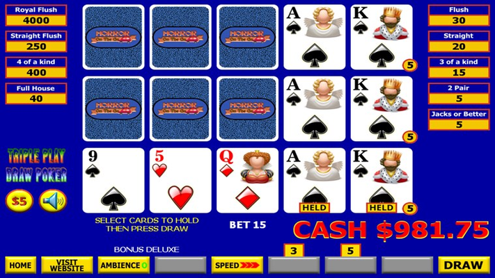 Triple Play Draw Poker Hold Cards
