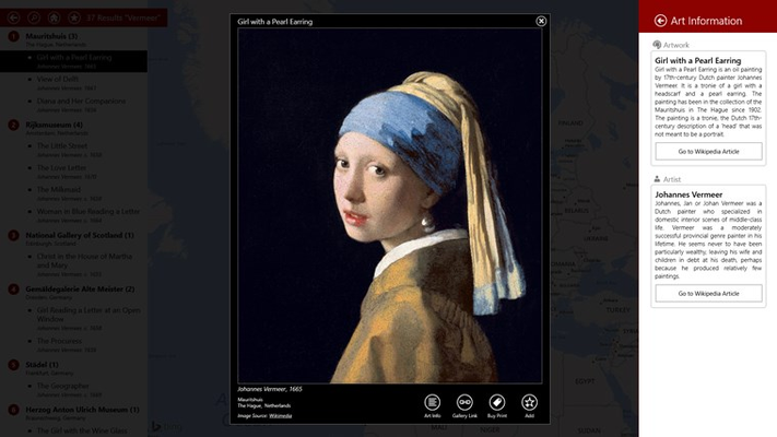 Expanded View of 'Girl with a Pearl Earring' with Wikipedia Info Pane