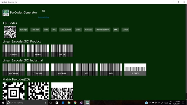 MainScreen: User-friendly, and easy navigation. QR-Codes, Linear barcodes and Matrix barcodes.