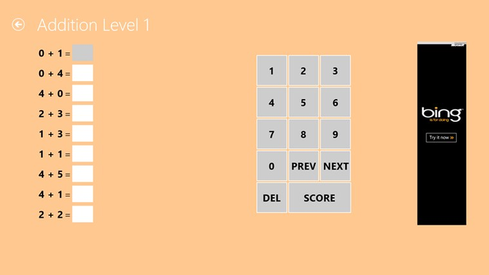 Addition practice screen