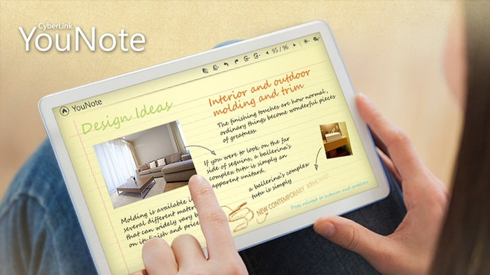 New YouNote helps you take on-the-fly notes, sketch around and annotate photos and graphics. Features handwriting-to-text and draw-to-shape recognition.