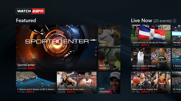 WatchESPN Main Page