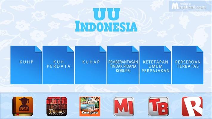 UU Indonesia adalah aplikasi yanig dibuat sebagai bahan referensi untuk mengetahui dan mempelajari Peraturan Perundangan yang berlaku di Indonesia.