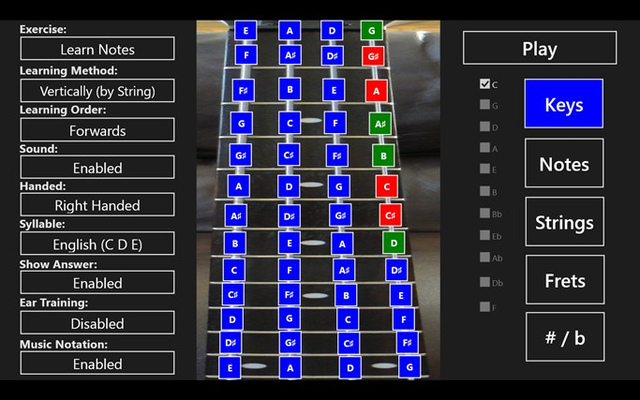 Setup the fretboard by touching the frets or use the presets on the right.  Also monitor your progress with color coded fret statistics