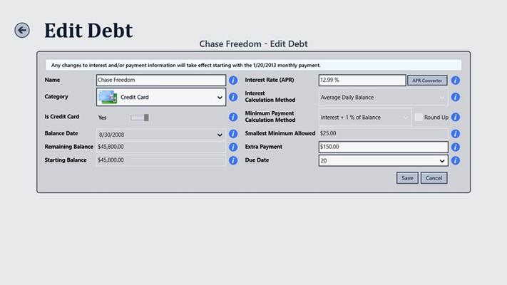 Debt Tracker for Windows 8