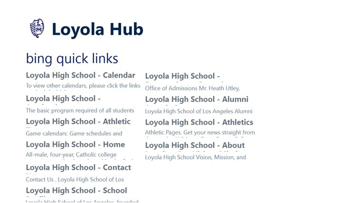 Quick links for areas of the Loyola website