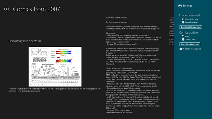 Comic details view features complete information on a selected comic including text-only transcript (if available).
