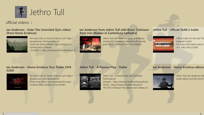 Official Videos from the Jethro Tull Website and Official YouTube Channel