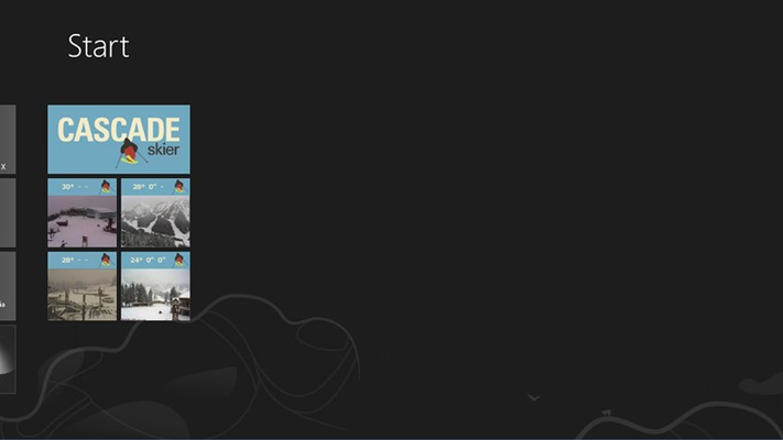Pinned resorts show you current web cams and weather data right on your start screen.
