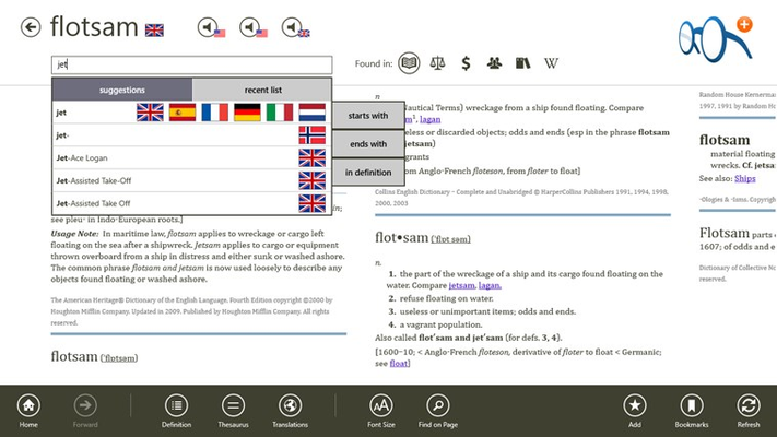 Find exactly what you want with helpful search suggestions, including flags to indicate the source language.