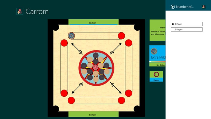 This is change number of players screen where player can choose number of players playing Carrom.