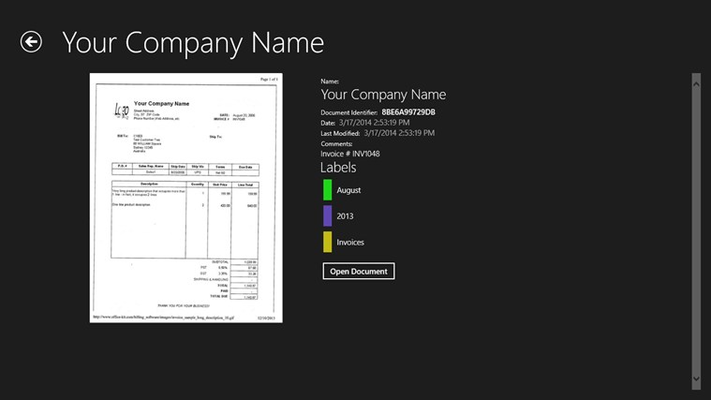 View details of any document stored in your account