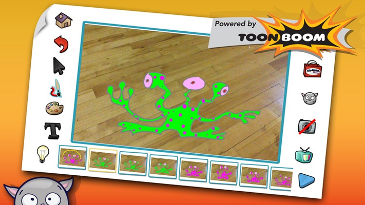 Try the camera feature that lets you take photos and add fun cartoons to them.