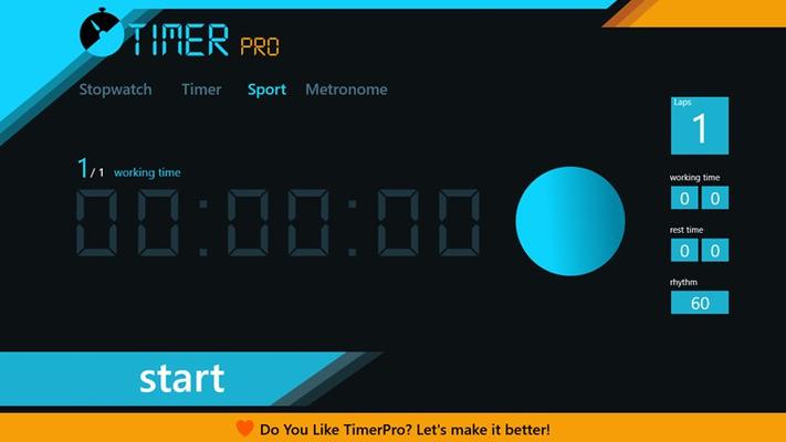 Working/rest sport timer