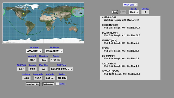 Wait List function displays upcoming passes for all satellites in favorites group.