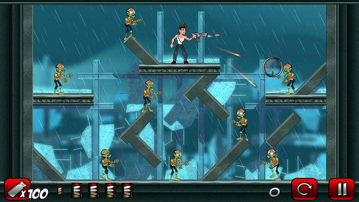 Fight zombies with a wide selection of weapons.
