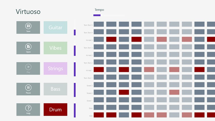 Virtuoso provides an easy to use interface for composing music using 5 instruments.