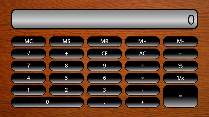 Standard Calculator in landscape mode with wooden texture