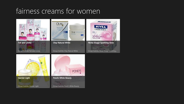 this is the first screenshot that explains about fairness creams for women.