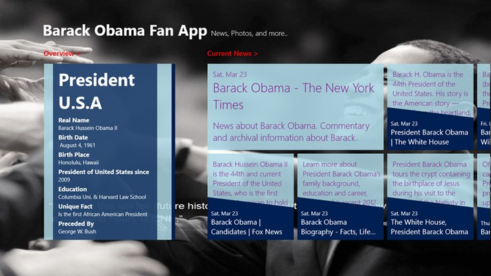 Barak Obama - Fan Club Startup Screen