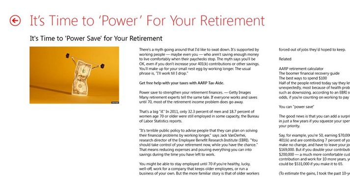 An example of AARP content