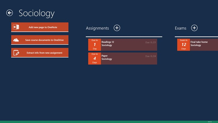 View course tasks and available features